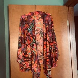 Slinky colorful open cardigan . Plus size 2x.